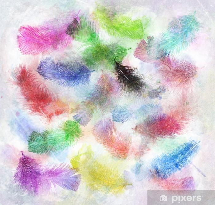 Mural de Parede em Vinil Watercolor Image Of Feathers - Fundos