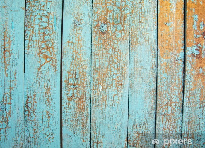 Wood blue panel Pixerstick Sticker - Themes