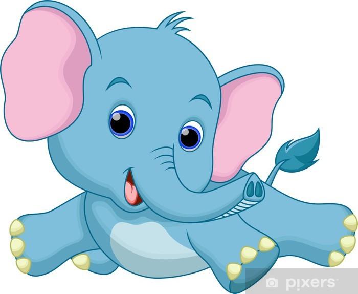 Vinilo Pixerstick Cute Dibujos Animados Bebé Elefante Pixers