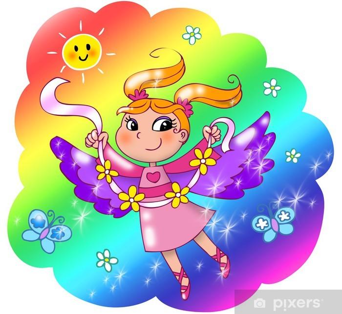 Fotomural Estándar Señora de hadas volar en un cielo del arco iris. - Niños