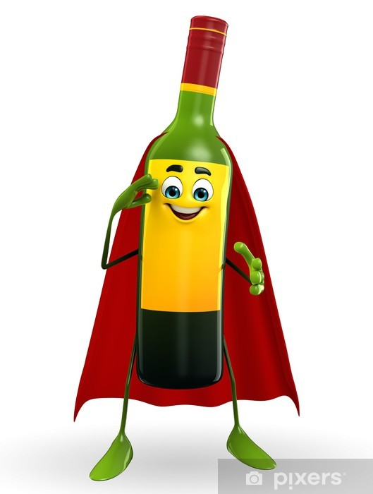 Super Wine Bottle Character With Salute Pose Wall Mural Pixers We Live To Change