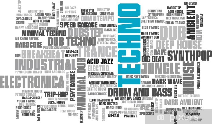 Electronic Techno Music Styles Word Cloud Bubble Tag Tree vector Wall Mural  - Vinyl