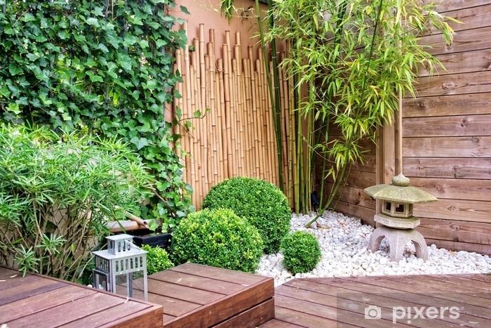 Pixerstick Sticker Japanse tuin met bamboe en stenen lantaarn - Hobby's en Vrije tijd