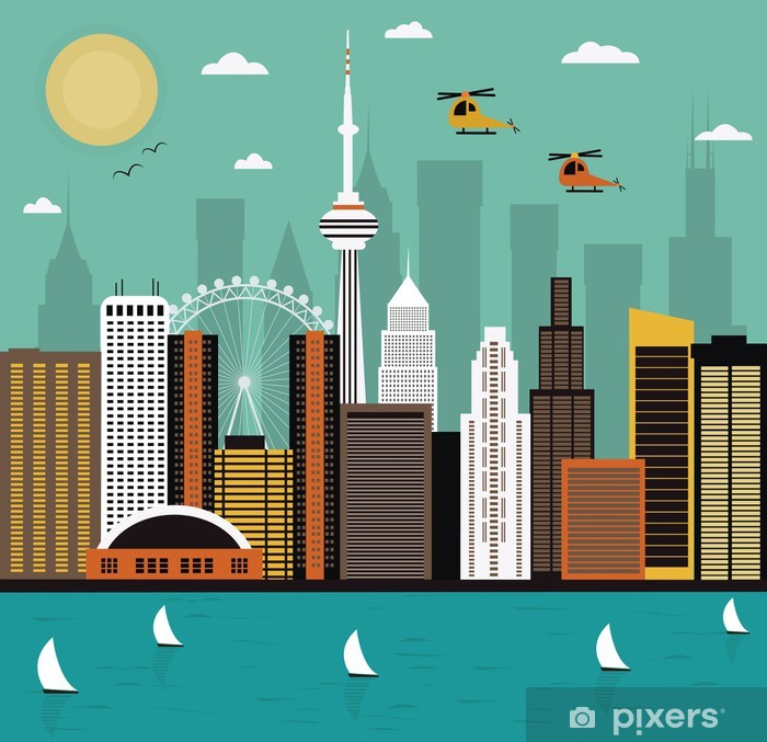 Modern city life. Vector Pixerstick Sticker - Destinations