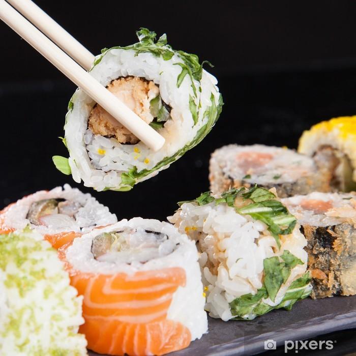 Papier peint vinyle Japonais ensemble de fruits de mer sushi - Sushi