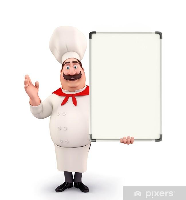 Naklejka Pixerstick Młody kucharz z planszy - Ludzie w pracy