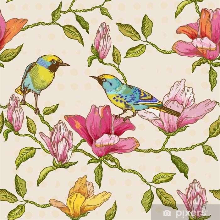 Fototapet av Vinyl Vintage sömlös bakgrund - blommor och fåglar - Årstider