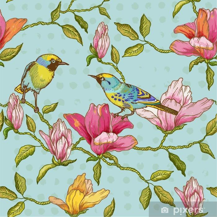 Bureau- en Tafelsticker Uitstekende Naadloze Achtergrond - Bloemen en Vogels - Seizoenen