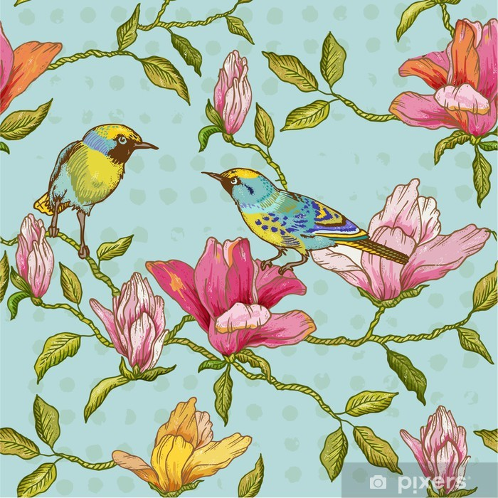 Vintage Seamless Background - Flowers and Birds Pixerstick Sticker - Seasons