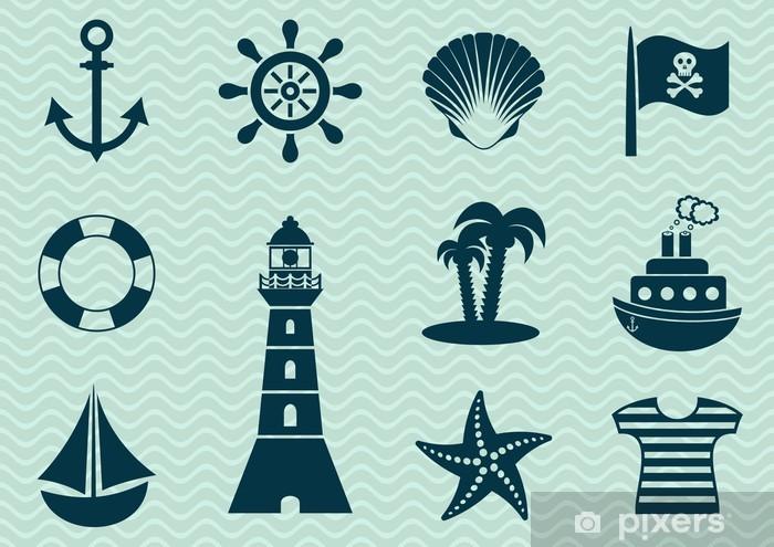 Papier peint vinyle Pirates Icons - Bateaux