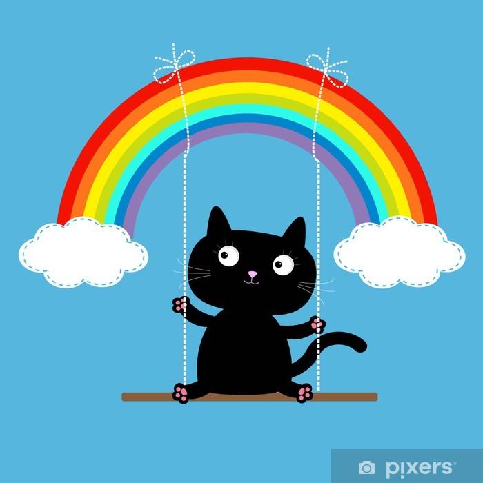 Pixerstick Aufkleber Regenbogen zwei Wolken am Himmel und Katze auf Swing. Strich-Linie. Liebe - Säugetiere