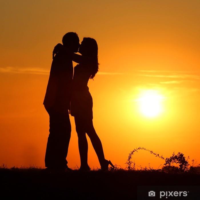 Sticker Pixerstick Deux au coucher du soleil - Couples