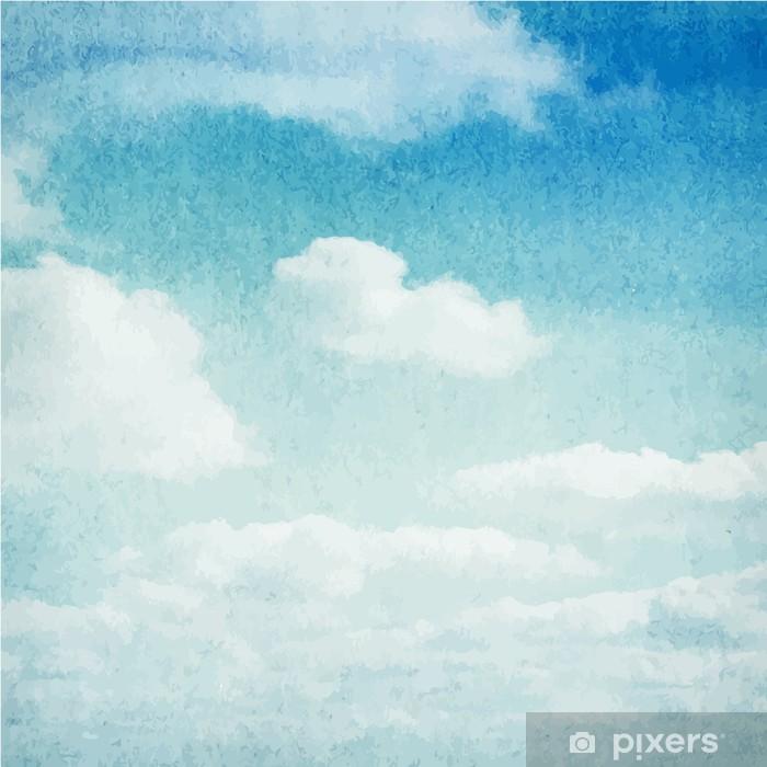 Vinil Duvar Resmi Suluboya bulutlar ve gökyüzü arka plan -