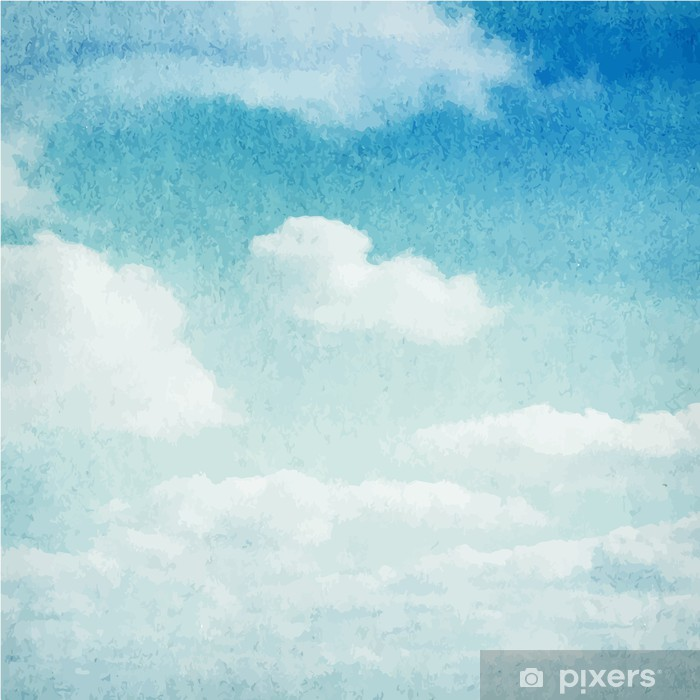 Watercolor clouds and sky background Pixerstick Sticker - Themes