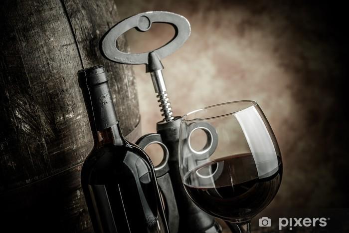 Papier peint vinyle Bouteille en verre de vin et le canon - Thèmes
