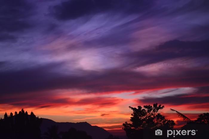 Naklejka Pixerstick Fioletowy pomarańczowy słońca - Niebo