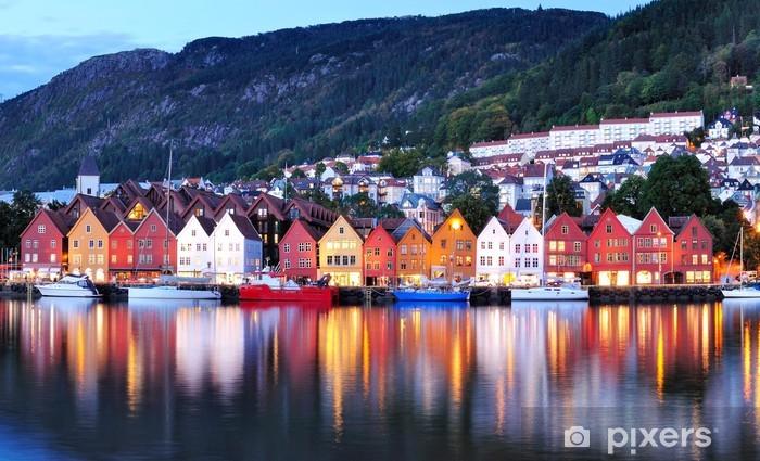 Bergen yökuva kaupunkikuva heijastus Vinyyli valokuvatapetti -