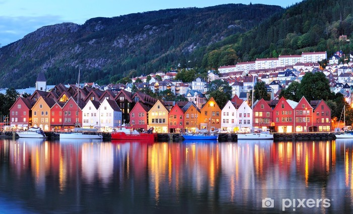 Bergen night view Cityscape reflection Vinyl Wall Mural - Themes