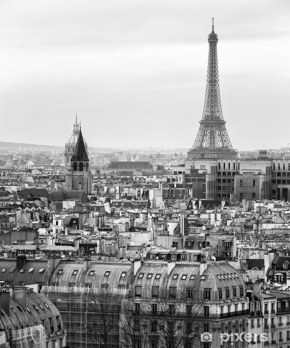 Black and White Aerial View of Paris with Eiffel Tower Vinyl Wall Mural - Styles