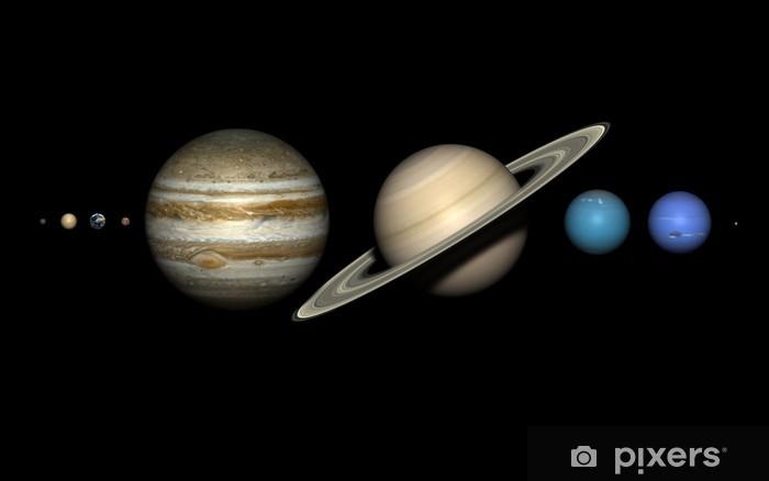 Papier peint vinyle Les planètes du système solaire avec des tailles relatives correctes. - Planètes