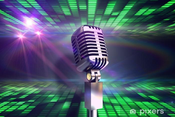 Naklejka Pixerstick Obraz kompozytowy chromowane mikrofonu retro - Tła