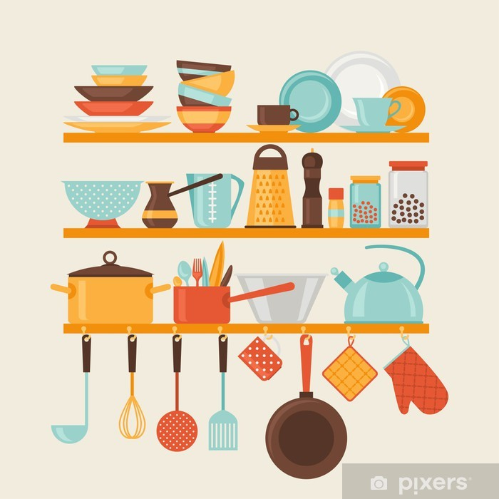 Naklejka Pixerstick Karta z półki kuchenne i naczynia do gotowania, w stylu retro. - Tematy