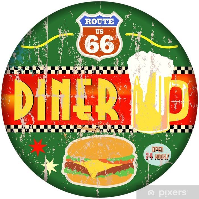 Pixerstick Aufkleber Retro amerikanische Route 66 Diner Zeichen, Vektor-EPS - Gerichte