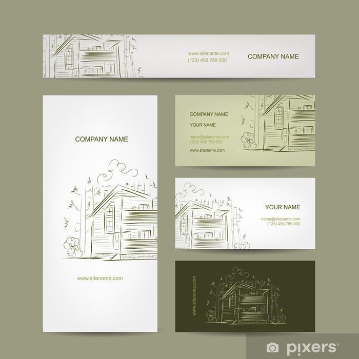 Fototapete Set Von Visitenkarten Design Mit Landhaus