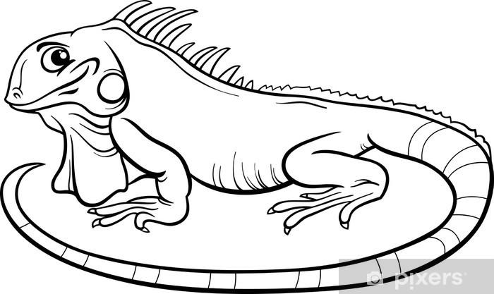 Vinyle Iguane Coloriage Livre Cartoon Pixerstick