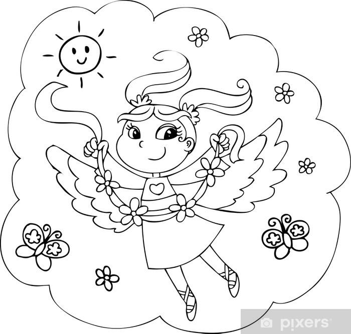 Ciceklerle Karikatur Boyama Peri Bayan Duvar Resmi Pixers