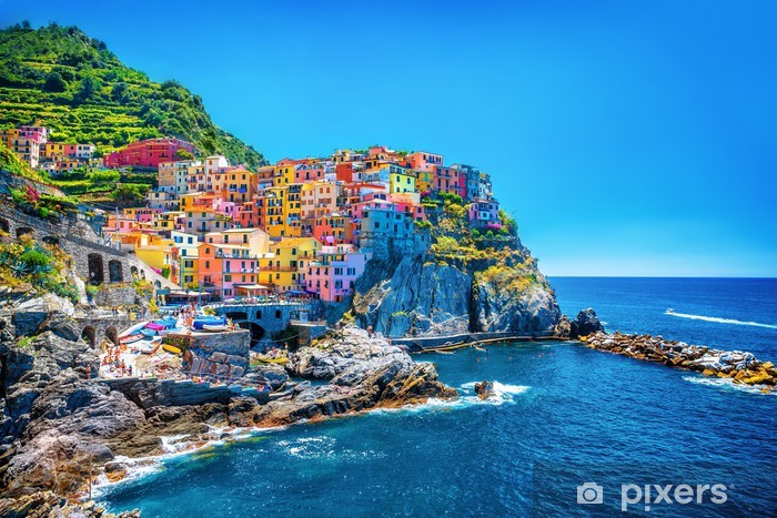 Vinil Duvar Resmi Güzel renkli Cityscape -