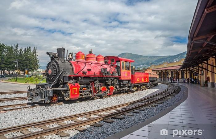Naklejka Pixerstick Stare lokomotywy pociągu na tory kolejowe - Tematy