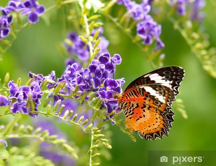 Naklejka Pixerstick Motyl na fioletowy kwiat - Inne Inne