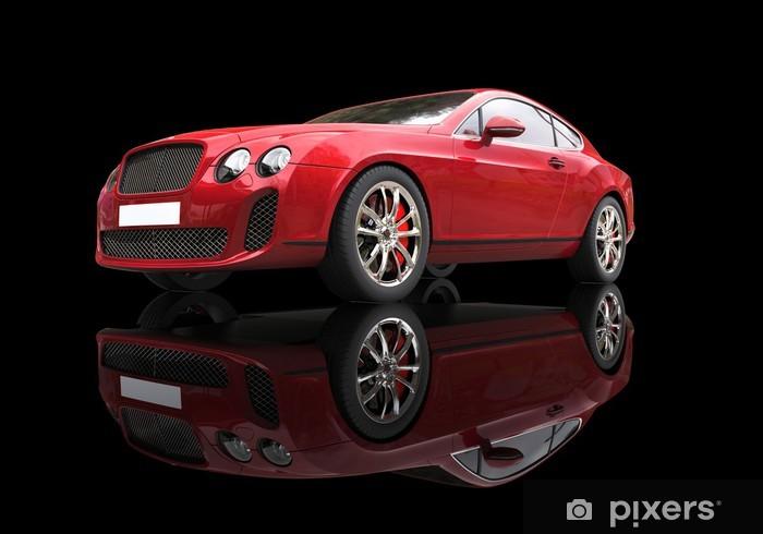 Fototapeta winylowa Czerwony elegancki samochód na czarnym tle refleksyjnej, niski kąt strzału. - Transport drogowy