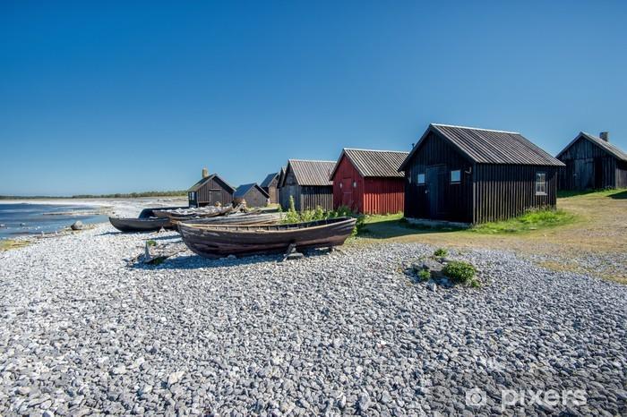 Helgumannens fishing village on Faro island in the Baltic sea Pixerstick Sticker - Europe