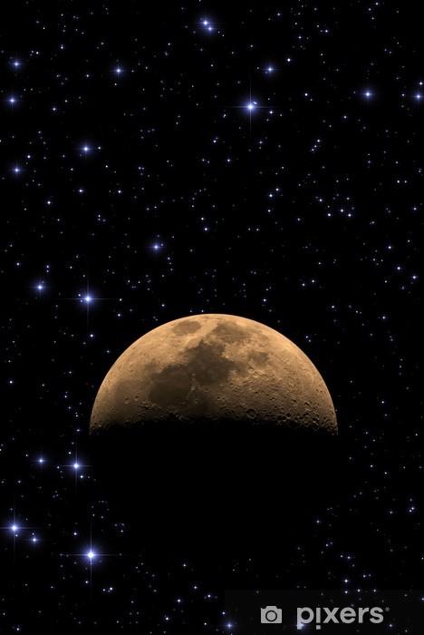 Vinyl Fotobehang Maan onder duizenden sterren in diepe ruimte. - Ruimte