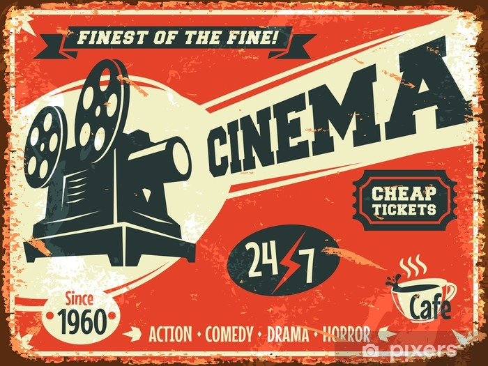 Grunge retro cinema poster. Vector illustration. Vinyl Wall Mural - Themes