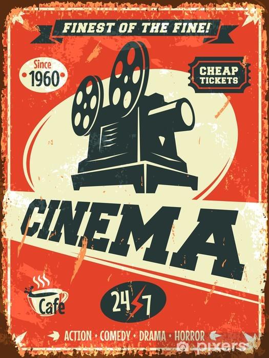 Naklejka Pixerstick Grunge retro kinowy plakat. ilustracji wektorowych. - Tematy