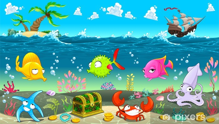 Funny Scene Under The Sea Wall Mural Pixers We Live To Change