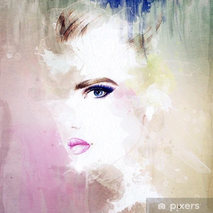 Naklejka Pixerstick Portret kobiety .abstract tle akwarela .fashion - Moda
