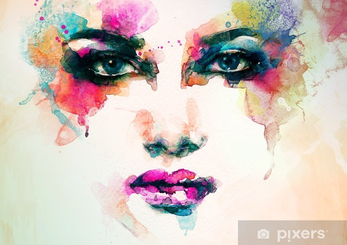 woman portrait .abstract watercolor .fashion background Pixerstick Sticker - People