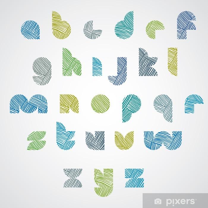 Poster Einfache Form Farbe Buchstaben Schriftart mit Hand gezeichneten Linien Muster. - Ausbildung