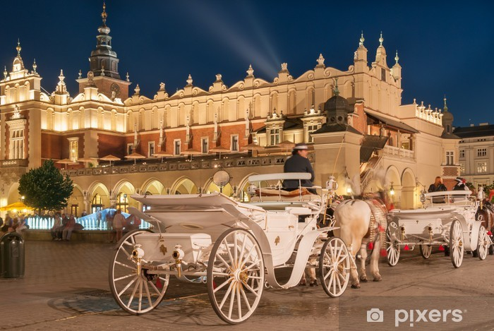 Carriages before the Sukiennice on The Main Market in Krakow Vinyl Wall Mural - Themes
