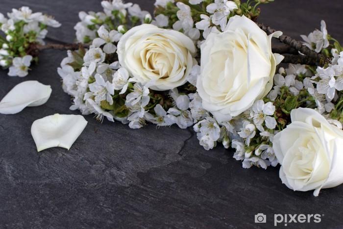 Naklejka Pixerstick Białe róże - Kwiaty