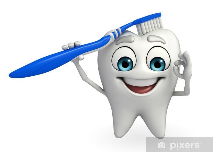 Papier peint vinyle Caractère de dents avec une brosse à dent - Santé et médecine