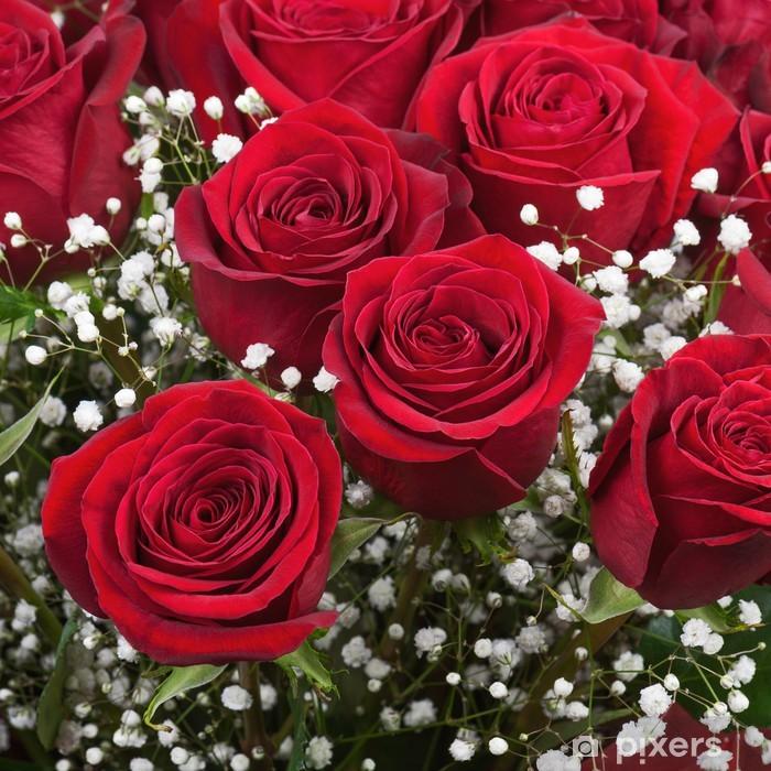Naklejka Pixerstick Kwiatowy bukiet z czerwonych róż. - Kwiaty