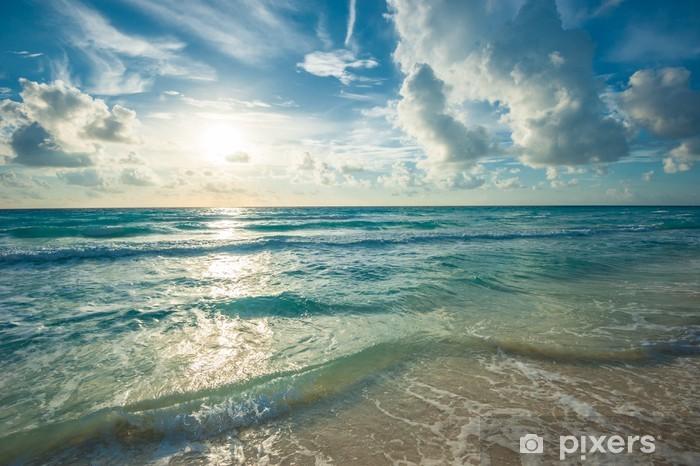 Fotobehang strand zee en diep blauwe hemel u pixers we leven