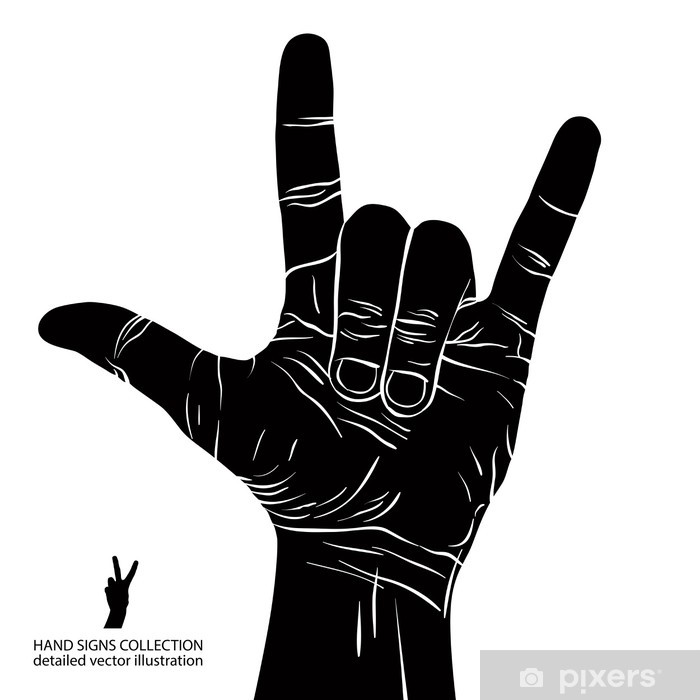 Aufkleber Rock On Hand Sign Rock N Roll Hard Rock Heavy Metal Musik Pixerstick