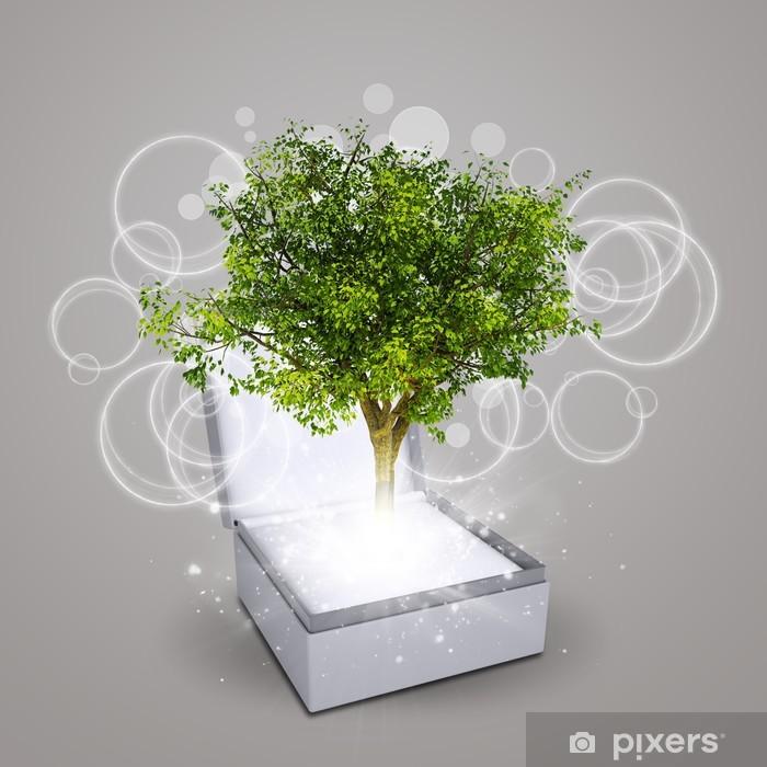 Vinyl-Fototapete Schmuckschatulle mit magischen grünen Baum - Elektrizität