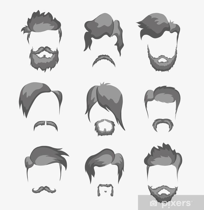 Papier Peint Autocollant Moustache, la barbe et la coiffure hippie - Parties du corps